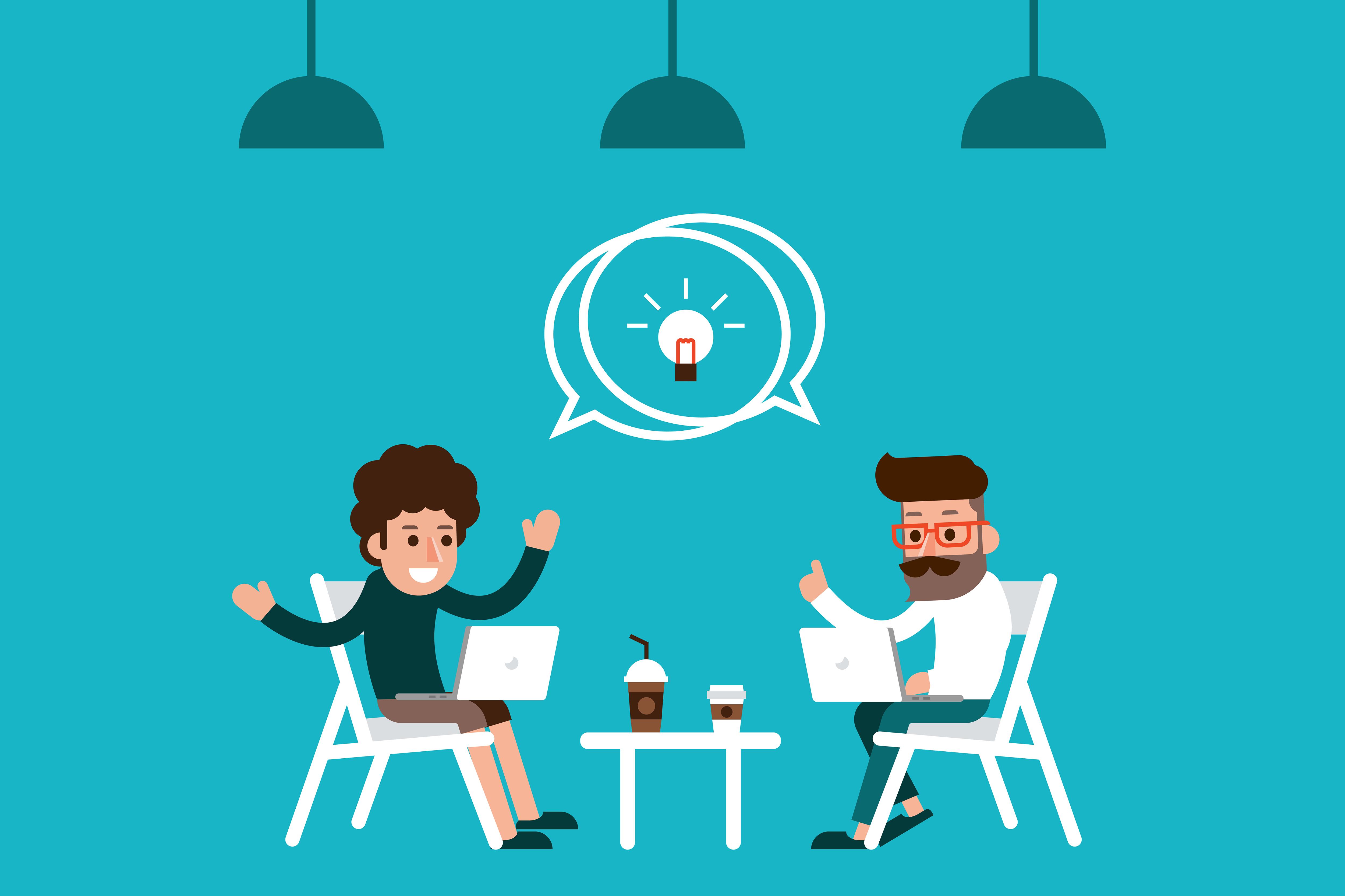 2 men talking about social media strategy
