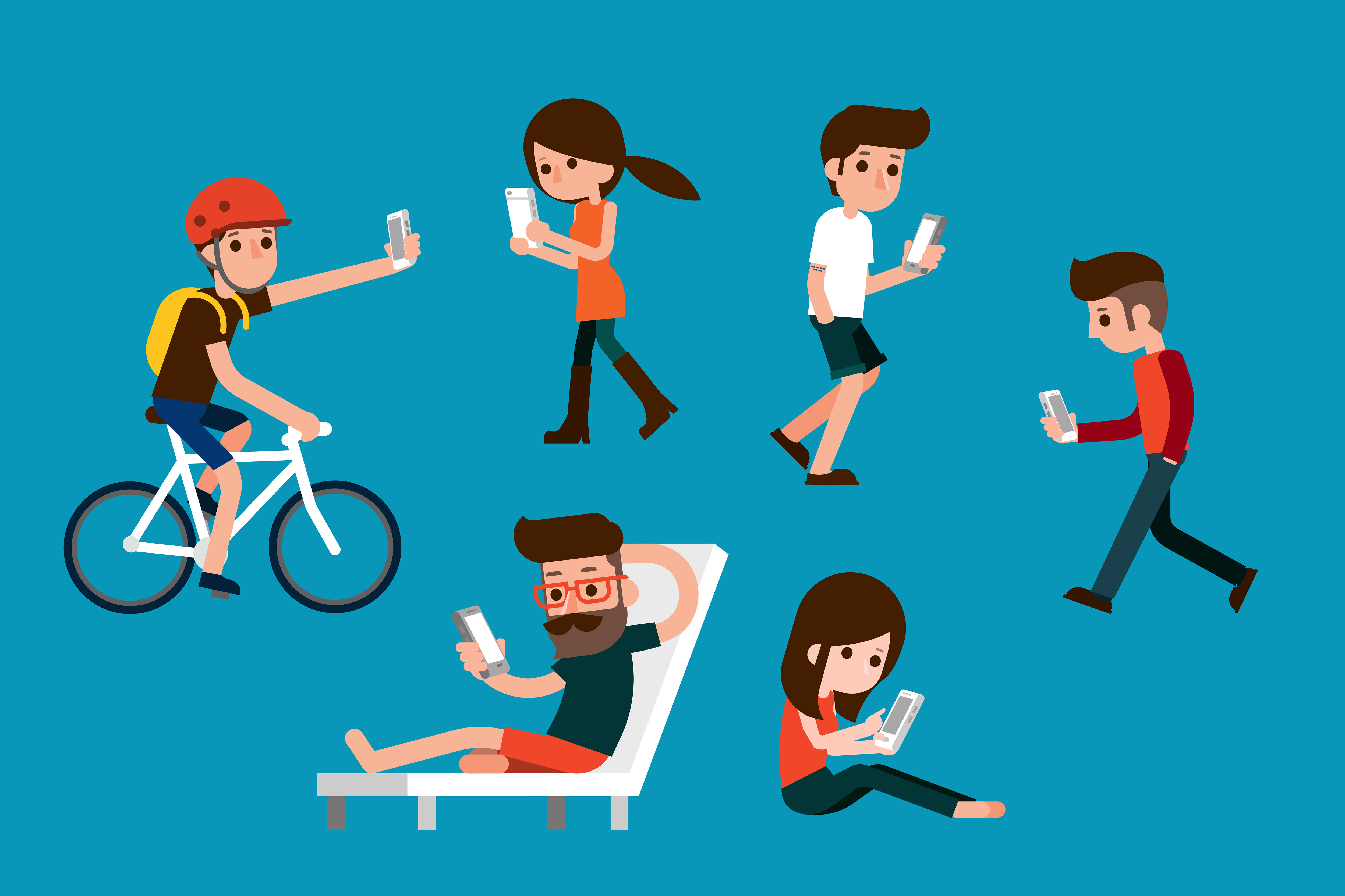 illustration of people on smartphones
